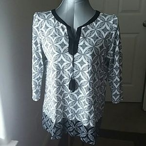 Talbots boho quarter sleeves cotton blouse
